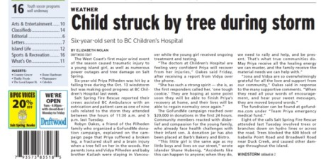 Child struck by tree